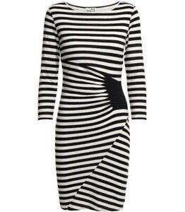 Reiss Valentine Black White Striped 3/4 Sleeve Bodycon Dress Size S