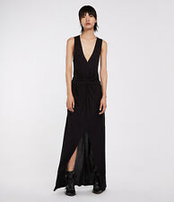 All Saints Womens Elke VI Black Designer Maxi Sleeveless Long Wrap Waist Dress