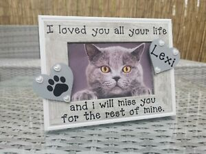 Personalised Cat Memorial Photo Picture Frame In Grey, In Loving Memory Any Word