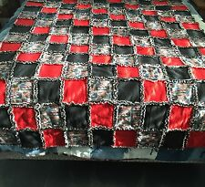 Handmade Race Car Themed Ragged Quilt Red and Black with Indy Style Race Cars