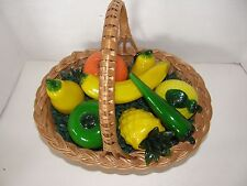 WICKER DECORATIVE BASKET WITH 8 BLOWN GLASS FRUIT & VEGETABLES