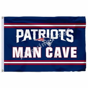 New England Patriots MAN CAVE Flag 3X5 FT Football NFL Banner Polyester