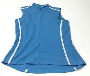 Pearl Izumi Cycling Shirt Women's Size Medium M 1/2 Zip Blue Tank Top Sleeveless