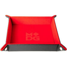 """Velvet Folding Dice Tray w/ Leather Backing - 10""""x10"""" - Red"""