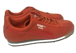 Mens Puma Roma Orange and Gummy Rubber Sole CLEAR LOGO 8.5 Sneakers HTF LOOK WOW