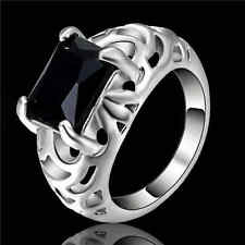 Size 6 Black Sapphire Wedding Band Ring white Rhodium Plated Party Jewelry
