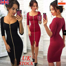 UK Womens Ladies Sexy V Neck Bodycon Zipper Dress Party Cocktail Evening Prom