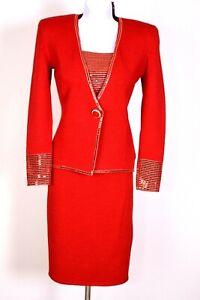 ST.JOHN Womens Suit Red Gold Trim Sequins Studs Rhinestone Jacket Skirt Sz 2-4