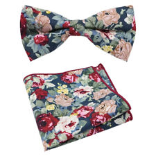 New Blue Floral Cotton Pre-Tied Bow Tie & Pocket Square Set. Great Quality.