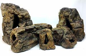 Aquarium Caves Beige Rocks Decoration For Fish Tank Terraarium Reptiles SET 5