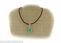 Campo Turquoise Gemstone Wire Wrap Pendant Necklace Leather Cord Protection