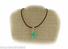 CAMPO TURQUOISE Gemstone Wire Wrap Pendant Necklace A066-9 Leather Free Gift Box