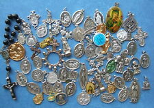 LOT OF 70 Catholic Religious MEDALS, Crucifix, rosaries, metal pocket statues ..