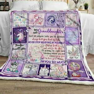 Love My Unicorn Granddaughter, Grandma Sofa Fleece Blanket