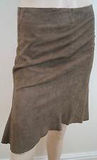 JOSEPH Made In Italy Tan Brown Goat Skin Suede Flare Vent Hemline Short Skirt S