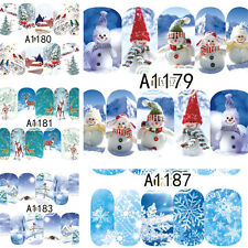 12 Sheets Winter Nail Art Water Transfer Decals Snowman Scene Deer Theme Sticker
