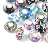 20 Handmade Lampwork Glass European Beads Rondelle Smooth Large Hole Charms 14mm
