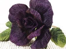Velvet Rose Purple Millinery Bridal Flower Crowns Corsage Wedding Crafts 3 inch