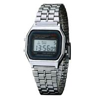 UN3F Vintage Men Women Stainless Steel Digital Alarm Stopwatch Watch Sliver