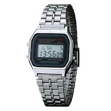 UN3F Vintage Men Women Stainless Steel Digital Alarm Stopwatch Watch Sliver