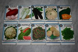 "10 Vintage 1934 ""Better Homes"" Fruit Vegetable Seed Packets Crosman Seed Co. NOS"