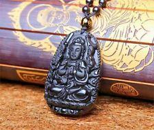 Pendentif BOUDDHA Manjushri  pierre ONYX Sculpté- Main collier 67 perles
