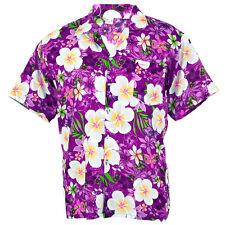Hawaiian Shirt Aloha Big Plumeria Frangipani Holiday Sea Beach Purple XXL hf258v