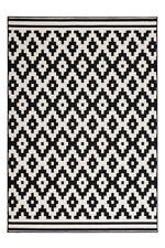 Teppich Flachflor Arabesque Scandic Design Modern Teppiche Schwarz Weiß 80x150cm