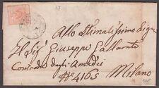 """Lombardo Veneto, VIMERCATE """"C4"""" su c.15 III° tipo, lettera per Milano - 2071"""