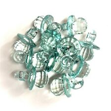 10x Baby Blue Turquoise CRYSTAL Dummy Pacifier Facet Acrylic, Charm Baby Shower