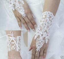 Brauthandschuhe Fingerlos Weiss Ivory Creme NEU Hochzeit Wedding Bridal 30cm*20