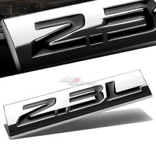 ALUMINUM STICK ON POLISHED CHROME BLACK 2.3L 2.3 L DECAL EMBLEM TRIM BADGE LOGO