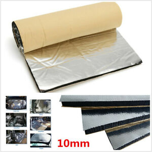 10mm Fiberglass Car Hood Floor Sound Proofing Deadener Heat Noise Insulation Mat