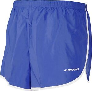 Brooks Podium Mens Running Split Shorts Lightweight Breathable - Royal