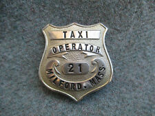 Vintage Taxi Cab Operator Uniform or Hat Badge Pin Milford, Massachusetts
