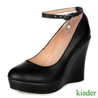 Womens Work High Wedge Heels Round Toe Pumps Ankle Strappy Platform Shoes Buckle