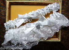 Heart Charms White Wedding Garter Set, One Size Fits Most People S6
