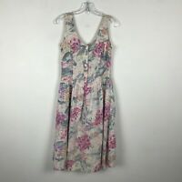 Vintage 1980s Dress Size S Floral Sleeveless Pastel Back Bow Cotton Womens
