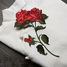 Red Rose Flower Clothes Patches Embroidery Decoration Iron on DIY Craft Patch