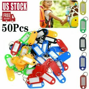 50PCS Plastic Key Tags Luggage ID Card Name Label Keychain With Metal Split Ring