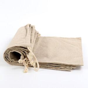 Reusable Linen Muslin Bags Bread Kitchen Storage Food Bags 2 Way Drawstring UK
