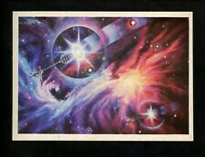 Space postcard Russian Concept Art Artist Sokolov 1978 chrome rockets