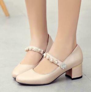 Lolita Fashion Women Mid-Heel Round Toe High Heels Wedding Shoes Mary Jane Shoes