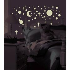 GLOW in the DARK 258 Wall Stickers Moon Star Sun Decals Room Decor Outer Space