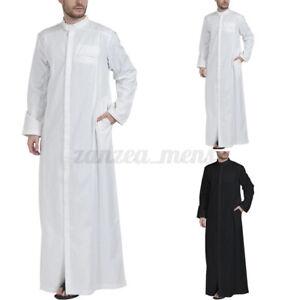 US STOCK Mens Muslim Saudi Jubba Islamic Arab Kaftan Saudi Jubba Long Thobe Robe