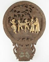 "20"" Carved Wood Pole Topper with Golden Figures  