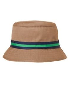 GYMBOREE BACKYARD EXPLORER KHAKI w/ NAVY N TEAL BAND BUCKET HAT 5 6 7 8 10 12 NW