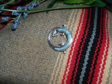 Vintage Native American Gecko Lizard Flush InlayTurquoise Sterling Pendant Pin