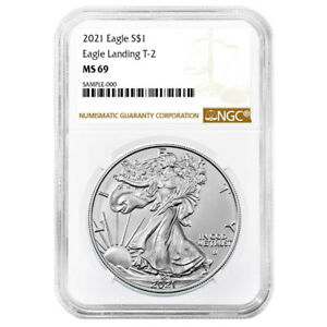 2021 $1 Type 2 American Silver Eagle NGC MS69 Brown Label