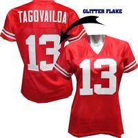 Custom Womens Blinged Football RED Jersey,Tua Tagovailoa